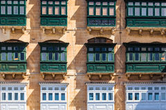 Valletta, Malta. Typical house facade with balconies in Valletta, Malta Royalty Free Stock Images