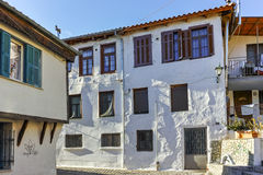 Typical house and fountainin old town of Xanthi, East Macedonia and Thrace Royalty Free Stock Photos