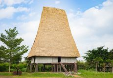 Typical house of J`rai people in central high land of Vietnam named Rong house in Vietnamese.  royalty free stock images