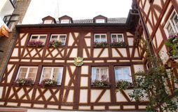 Typical house with many flowers in Mainz in Germany Royalty Free Stock Photos