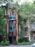 Typical House of Montreal in Canada. The particularity of the accommodation in Montreal is that the staircase is outside. Because of a law requiring 10 feet in royalty free stock images