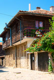 A typical house in old Bulgaria. The house in the old city with a wooden second floor Royalty Free Stock Photos
