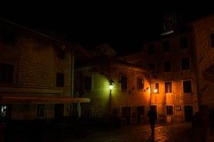 Typical House in the Old Town of Kotor at Night with Silhouette. Of Person, Montenegro Royalty Free Stock Photos
