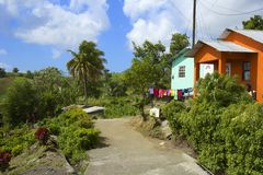 Typical house in St Vincent panorama, Grenadines. Traditional house in St Vincent, Grenadines, Caribbean Royalty Free Stock Image