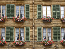 A typical house in Switzerland,. Windows of a typical house in Switzerland stock photos