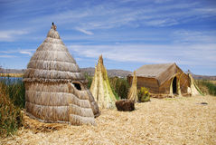 Typical house on Titicaca lake Stock Photos