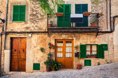 Typical house view in Valldemossa Stock Photos