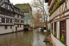Typical houses above the river in Strasbourg, France royalty free stock photography