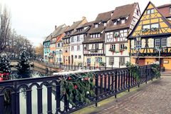 Colombages houses in a village of Alsace Royalty Free Stock Photography