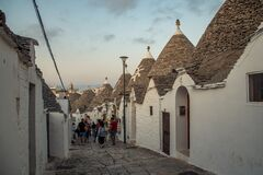 Free Typical Houses Built With Dry Stone Walls And Conical Roofs Of The Trulli, In The Evening Day, Apulia, Italy Stock Image - 173616371