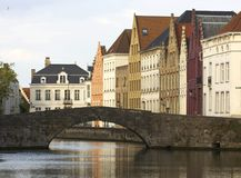 Typical houses and canal of Bruges Royalty Free Stock Photo