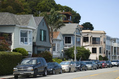 Typical houses with cars parked in front - Sausalito, San Francisco Royalty Free Stock Photos