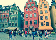 Typical houses in centre of Stockholm, Sweden Royalty Free Stock Photography