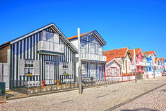 Typical houses with colorful stripes in Costa Nova, Aveiro Royalty Free Stock Photo