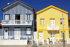 Typical houses of Costa Nova. Stock Images