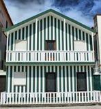 Typical houses of Costa Nova royalty free stock photos