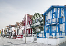 Typical houses of Costa Nova, Aveiro, Portugal. royalty free stock photography