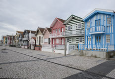 Typical houses of Costa Nova, Aveiro, Portugal. Royalty Free Stock Image