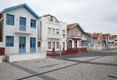Typical houses of Costa Nova, Aveiro, Portugal. stock image