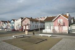 Typical houses of Costa Nova, Aveiro, Portugal. Stock Images
