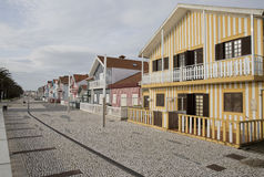 Typical houses of Costa Nova, Aveiro, Portugal. stock photo