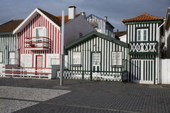 Typical houses of Costa Nova, Aveiro, Portugal. royalty free stock photo