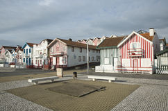 Typical houses of Costa Nova, Aveiro, Portugal. stock photography