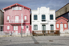 Typical houses of Costa Nova, Aveiro, Portugal. royalty free stock image