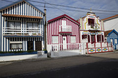 Typical houses of Costa Nova, Aveiro, Portugal. stock photos
