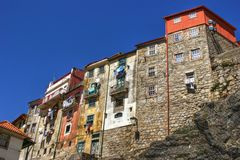 Typical houses of downtown in Porto stock photography