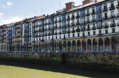 Typical houses near the Nervion river, old town of Bilbao, Bisca Stock Photography