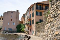 Typical houses at the old harbour of Saint Tropez Royalty Free Stock Image