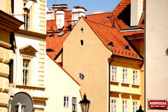 Typical houses of Old Prague. 's Little Side District (Malá Strana) with street sign Stock Images
