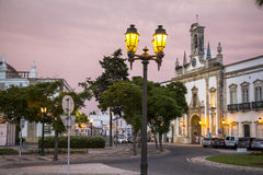 Typical houses in Old Town of Faro after sunset, Portugal Royalty Free Stock Image
