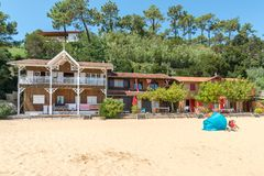 Arcachon Bay, France, houses on the beach. Typical houses of the oyster village of LHerbe, a conservation area near the Cap Ferret Stock Images