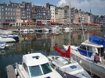 Typical Houses in the Port of Honfleur Stock Photography