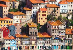 Typical houses in Porto located on a cliff, view from Vila Nova de Gaia, Porto, Portugal.  stock image