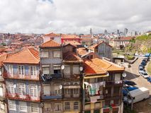 Typical houses from porto Portugal in all colors with hanging royalty free stock image