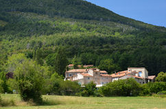 Typical houses of Provencal village above canyon Verdon Royalty Free Stock Photo