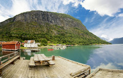 Typical houses in Solvorn, Norway Royalty Free Stock Photo