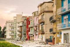 Typical houses in Sottomarina (Italy). Stock Photos