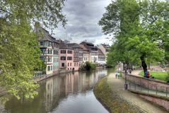 Typical houses in Strasbourg. Typical houses near the canal of Petite-France area in Strasbourg, France. Photo in HDR Royalty Free Stock Images