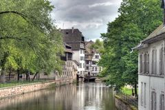 Typical houses in Strasbourg. Typical houses near the canal of Petite-France area in Strasbourg, France. Photo in HDR Royalty Free Stock Photography