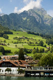 Typical houses in Swiss Alps Stock Images