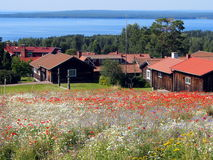 Typical houses in Tallberg. Tällberg is a little village located in Dalarna County in Sweden. It is situated on the shore of Lake Siljan. A special character of Stock Image