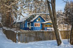 Typical houses in the urban-type settlement in Leningrad oblast at winter. Russia Stock Images