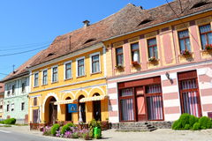 Typical houses in the village Biertan, Transylvania Stock Photo