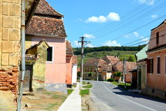 Typical houses in the village church Biertan, Transylvania. Stock Images