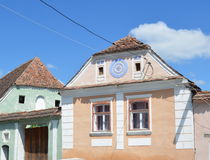 Typical houses in the village Crit - Kreutz, Transylvania. Royalty Free Stock Photography
