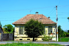 Typical houses in the village Merghindeal- Mergenthal, Transylvania,Romania Royalty Free Stock Photo